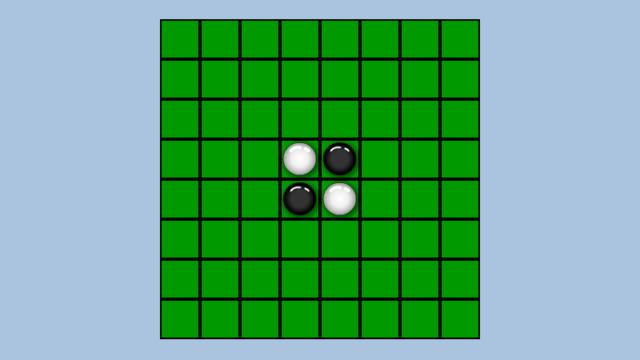 Screenshot des Spiels «Othello» – Zwei schwarze und weisse Punkte und leere Felder welche besetzt werden sollen