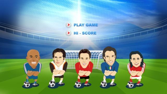 Illustrationen für das Game «Penalty 08» von Thierry Henry, Michael Ballack, Roland Linz, Alessandro Del Piero und Hakan Yakin