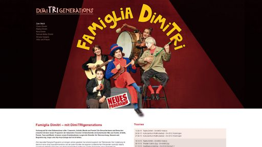 Bildschirmfoto Webdesign M Famiglia-Dimitri – Künstler-Website «Home»
